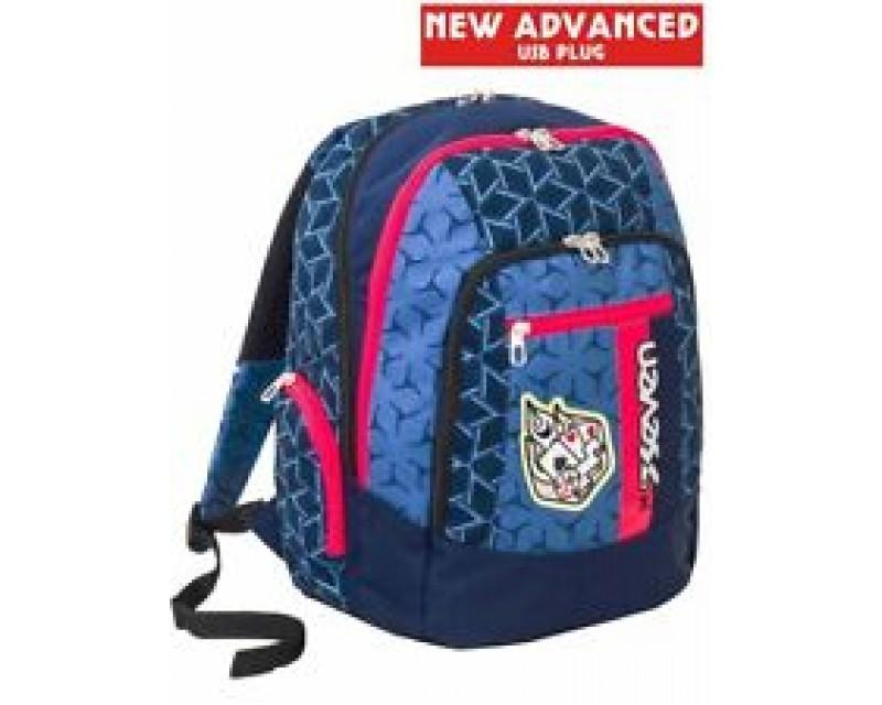 Zaino scuola advanced SEVEN - DICE BOY - Blu e Rosso - 30 LT